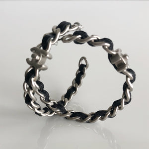 Authentic CHANEL XL Leather Chain Link Hoop Earrings