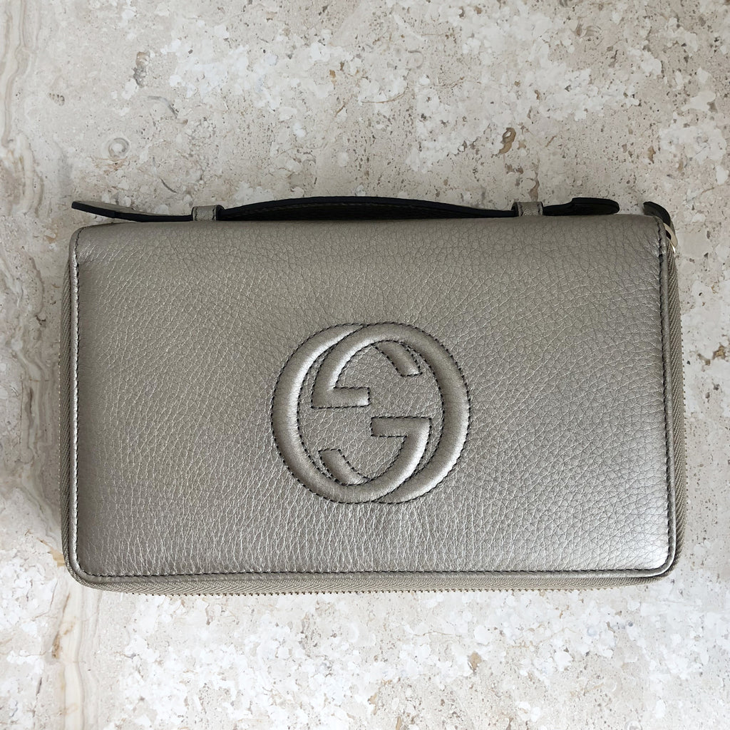 Authentic GUCCI Soho Large Metallic Wallet