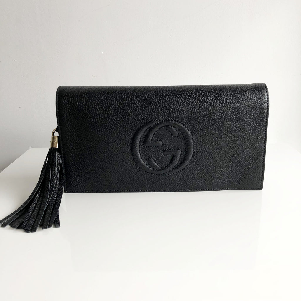 20f1fdf165a9 Authentic GUCCI Soho Black Clutch