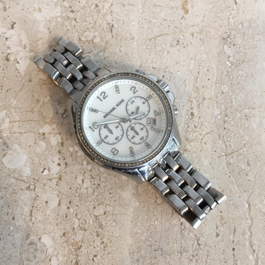 Authentic MICHAEL KORS Stainless Steel & Rinestone Watch