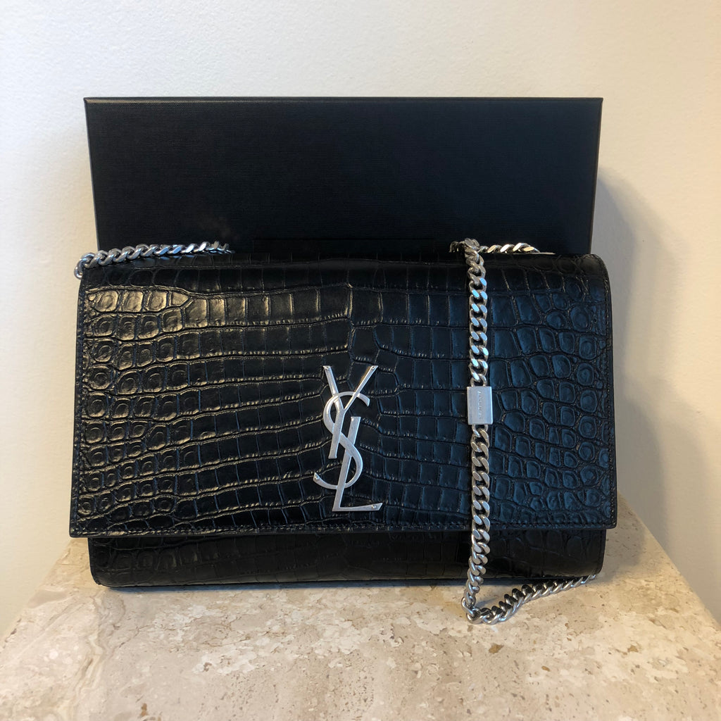 Authentic YVES SAINT LAURENT Large Kate Crocodile Embossed Leather Bag