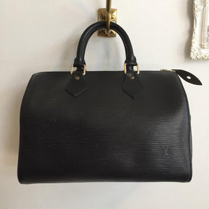Authentic LOUIS VUITTON Vintage Black Epi Leather Speedy 25