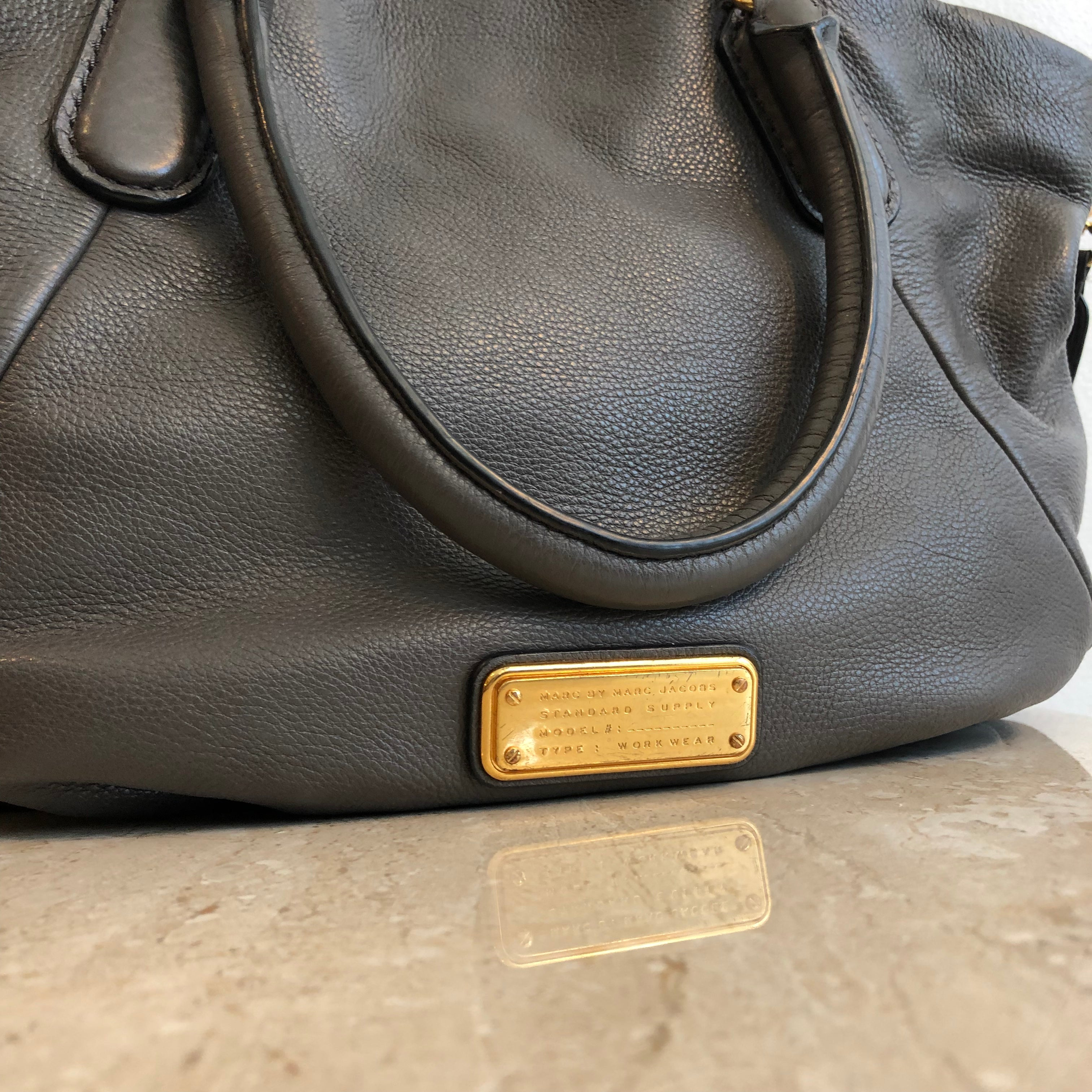 Authentic MARC BY MARC JACOBS Large Grey Leather Tote