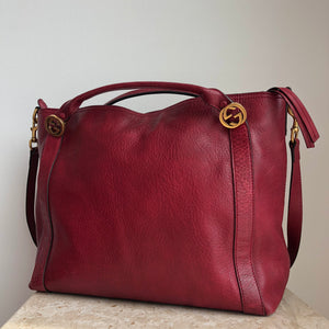 Authentic GUCCI Maroon Red Leather Tote