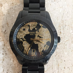 Authentic MICHAEL KORS Black Ceramic & Gold Rhinestone Watch