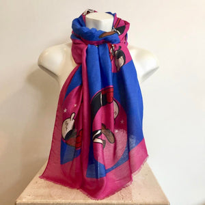 Authentic MOSCHINO Pink/Blue Motif Scarf