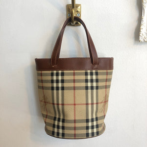 Authentic BURBERRY Small Haymarket Bucket Handbag