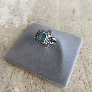 Authentic DAVID YURMAN Petite Albion Blue Topaz and Diamond Ring Size 6