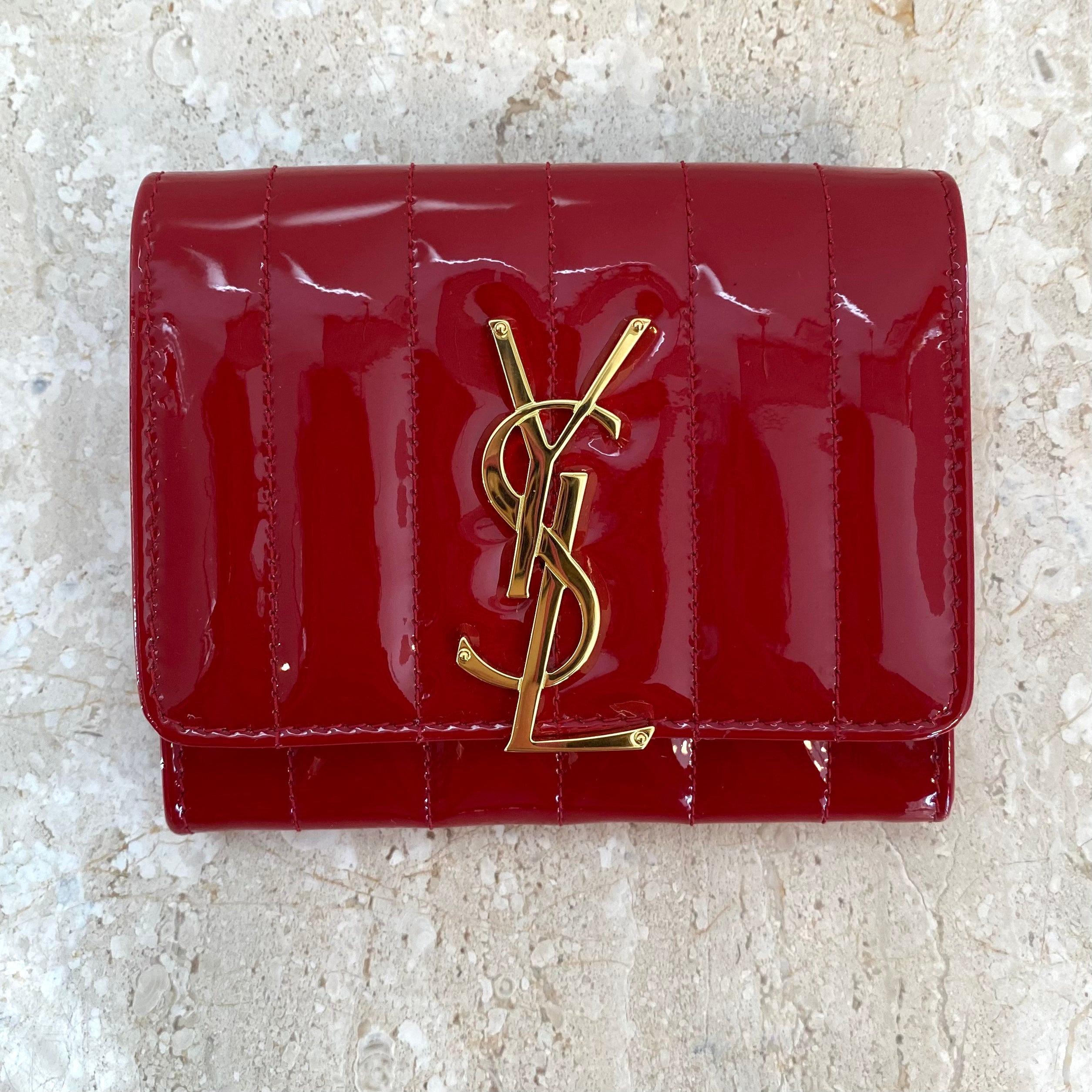 Authentic YSL Red Patent Leather Vicki Wallet