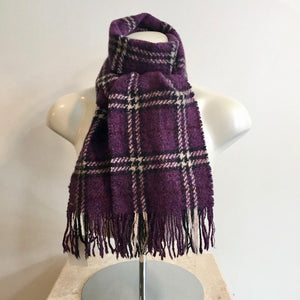 Authentic BURBERRY Wool Purple/White Novacheck Scarf