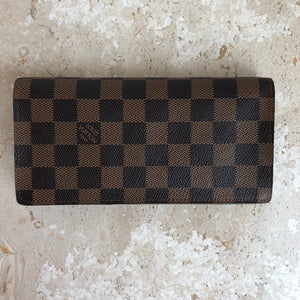 Authentic LOUIS VUITTON Brazza Wallet Damier Ebene