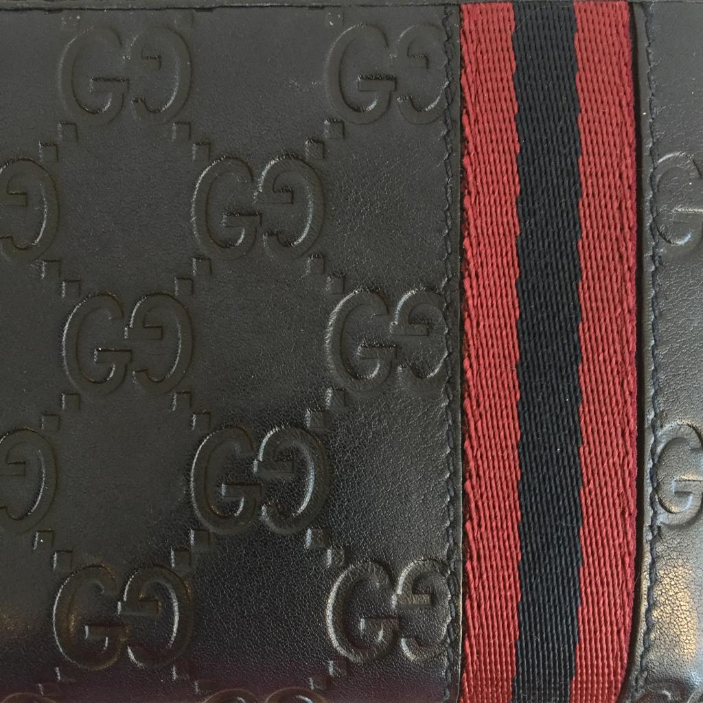 Authentic GUCCI Guccissima Navy Leather Wallet