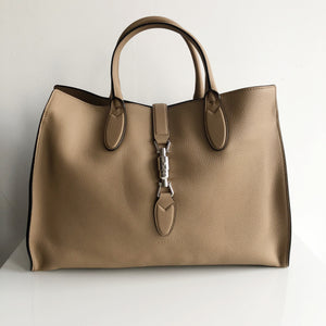 Authentic GUCCI Jacki Soft Tan Leather Tote