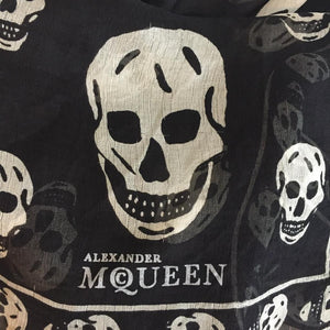 Authentic ALEXANDER MCQUEEN 100% Silk Black/White Skull Scarf