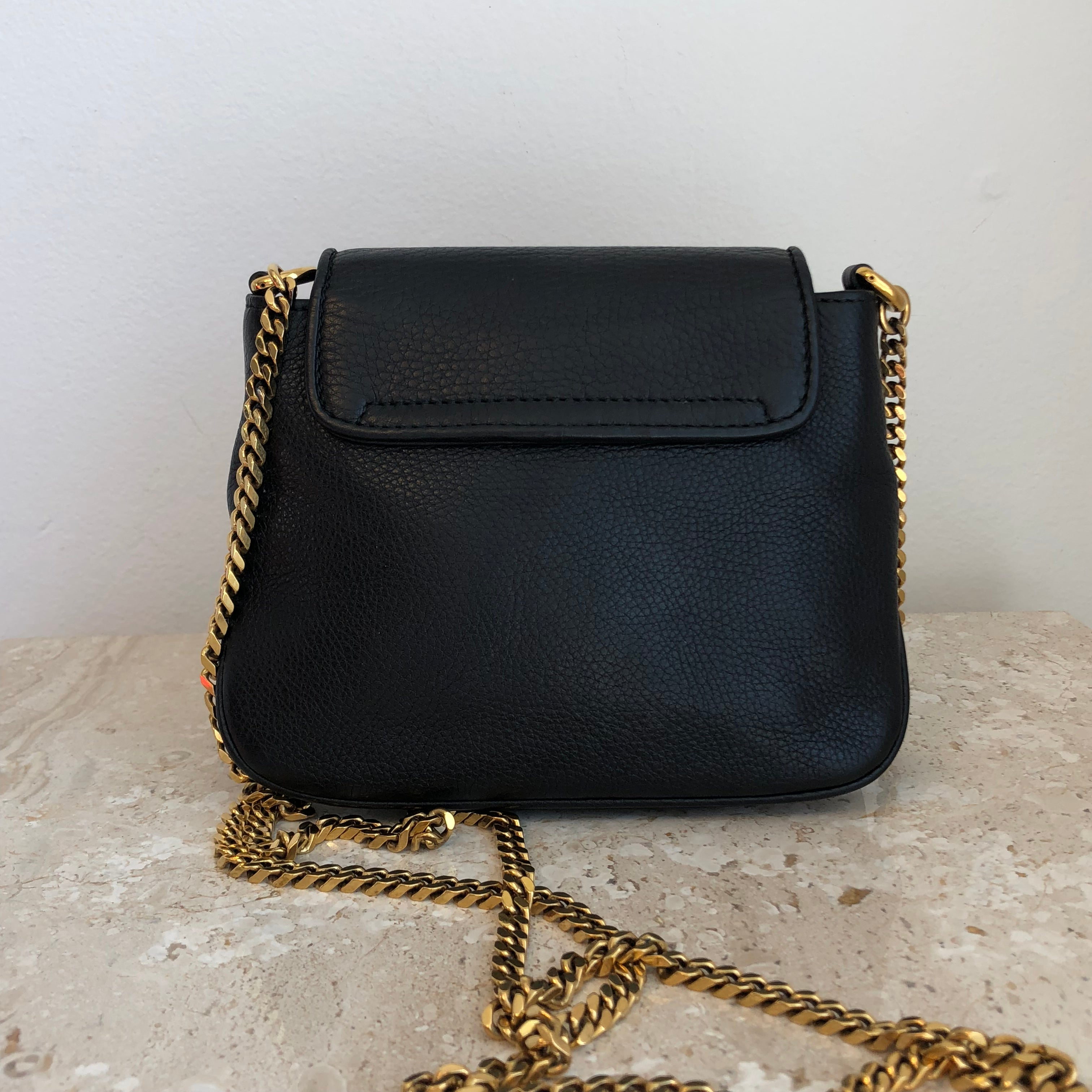 Authentic GUCCI 1973 Black Pebbled Leather Crossbody