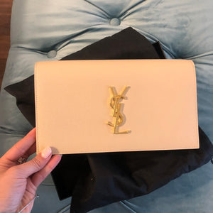 Authentic YVES SAINT LAURENT Tan Clutch