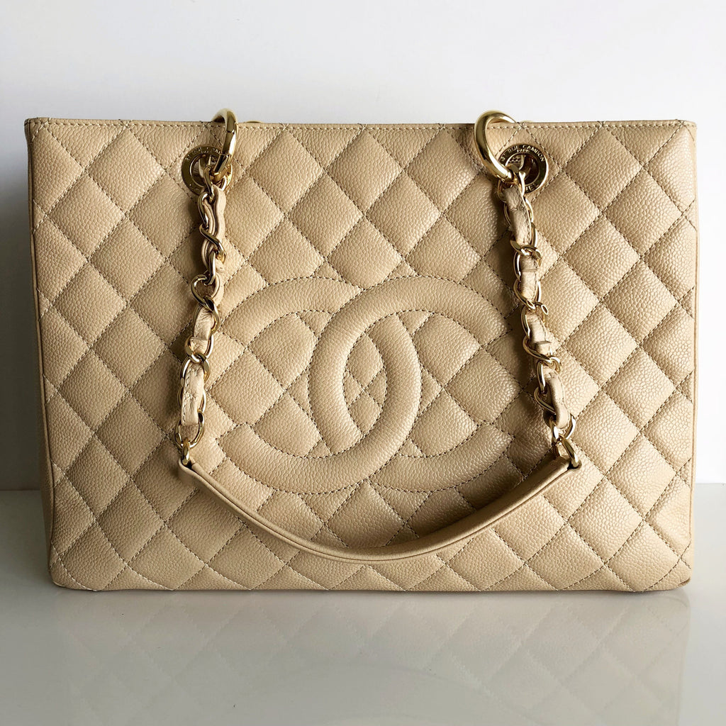Authentic CHANEL Beige Caviar Leather GST