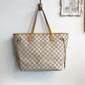 Authentic LOUIS VUITTON Damier Azur Neverfull MM