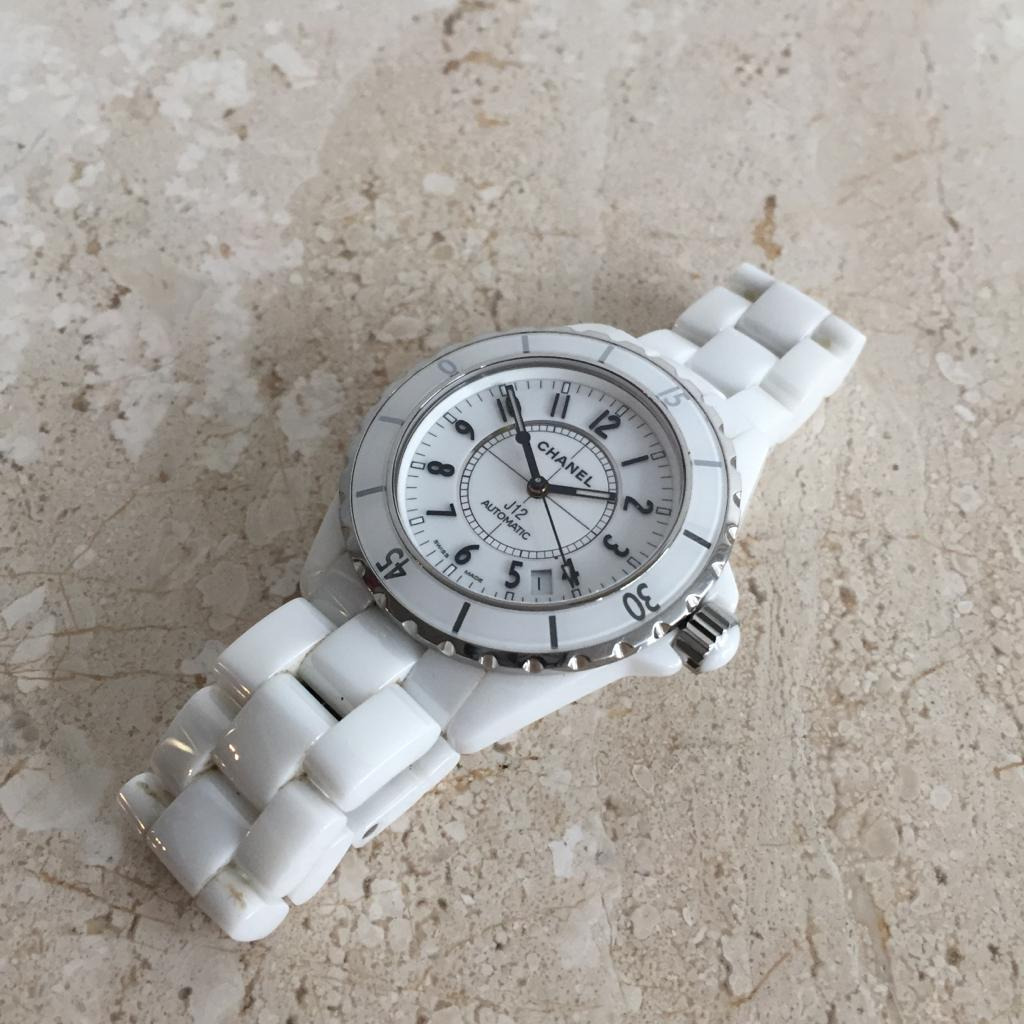 Authentic CHANEL J12 White Ceramic & Steel Watch