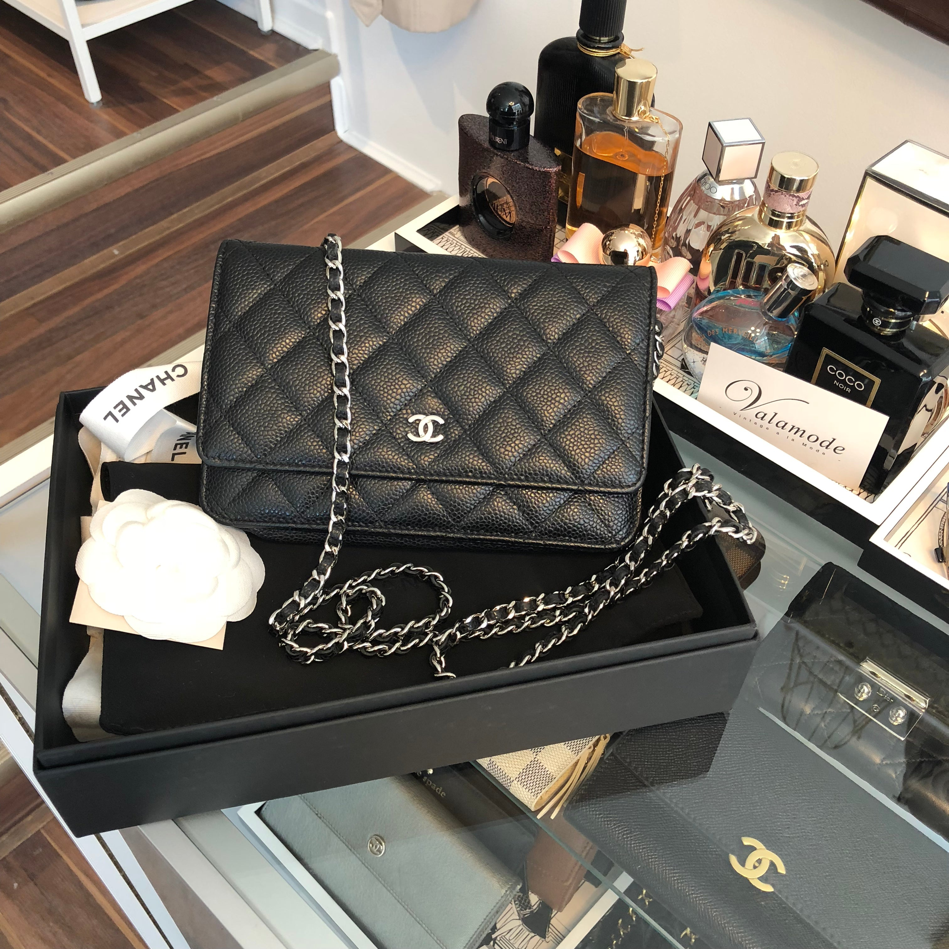 Authentic CHANEL Black Caviar Wallet on Chain