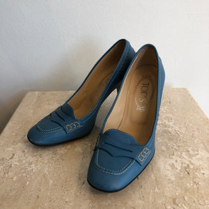 Authentic TODS Shoes - Size 5.5 - Blue - Leather Penny Loafter Pump
