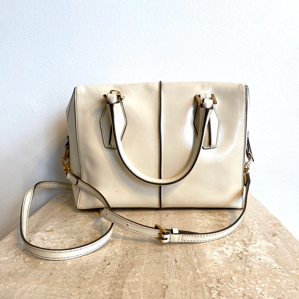 Authentic TODS Ivory Top Stitched Leather Bag