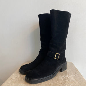 Authentic GUCCI Vintage Black Suede Boots - Size 9
