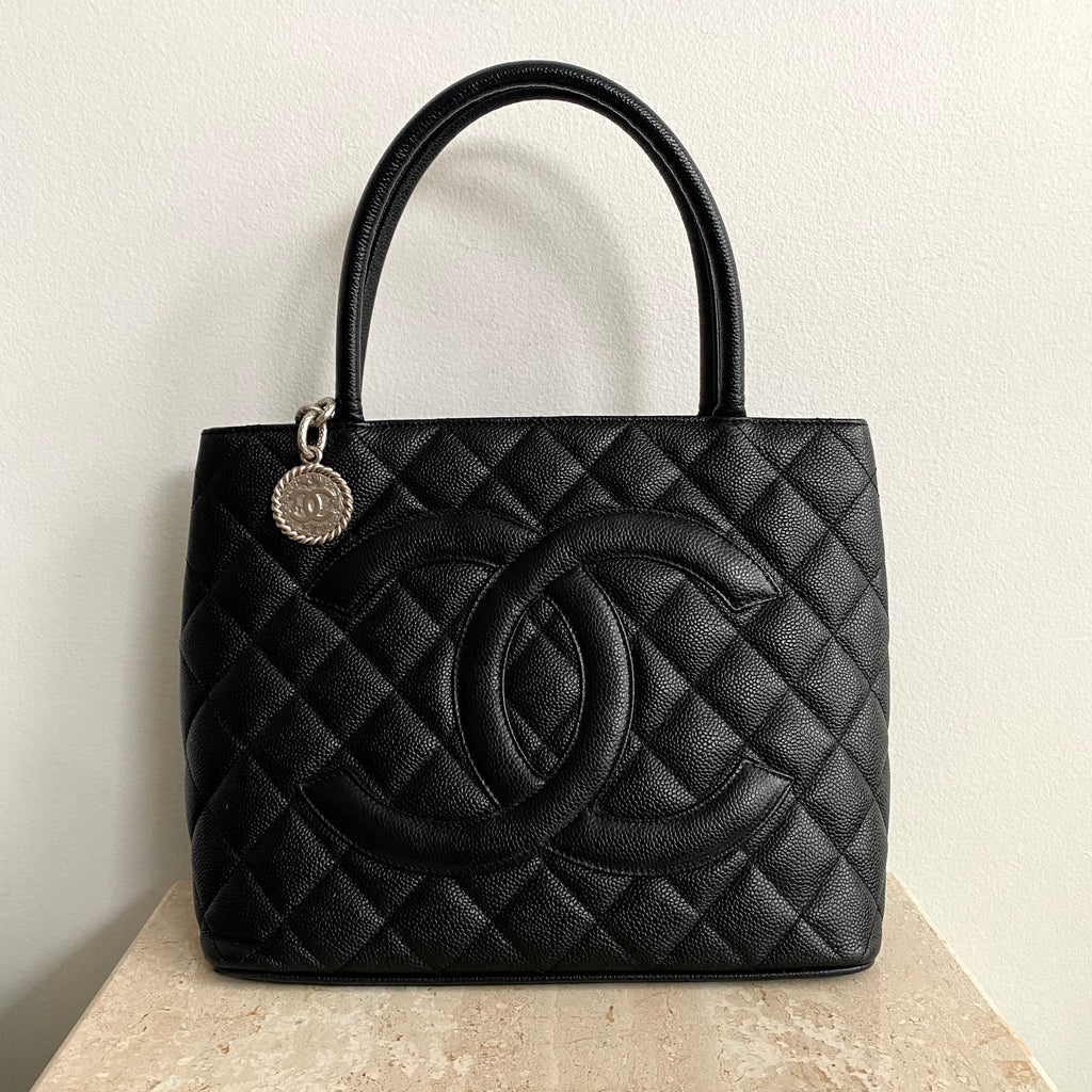 Authentic CHANEL Black Medallion Tote SHW