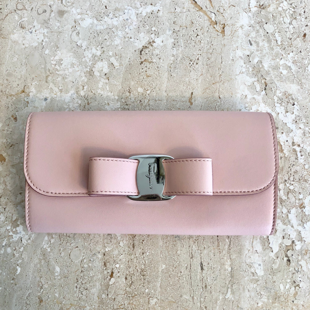 Authentic SALVATORE FERRAGAMO Blush Pink Leather Wallet