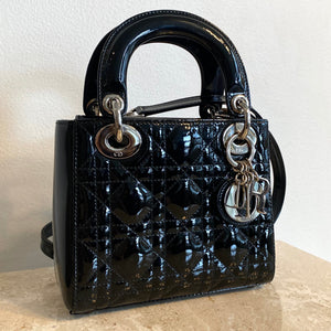 Authentic CHRISTIAN DIOR Patent Mini Lady Dior Black