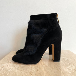 Authentic DOLCE & GABBANA Suede & Pony Hair Booties Size 38