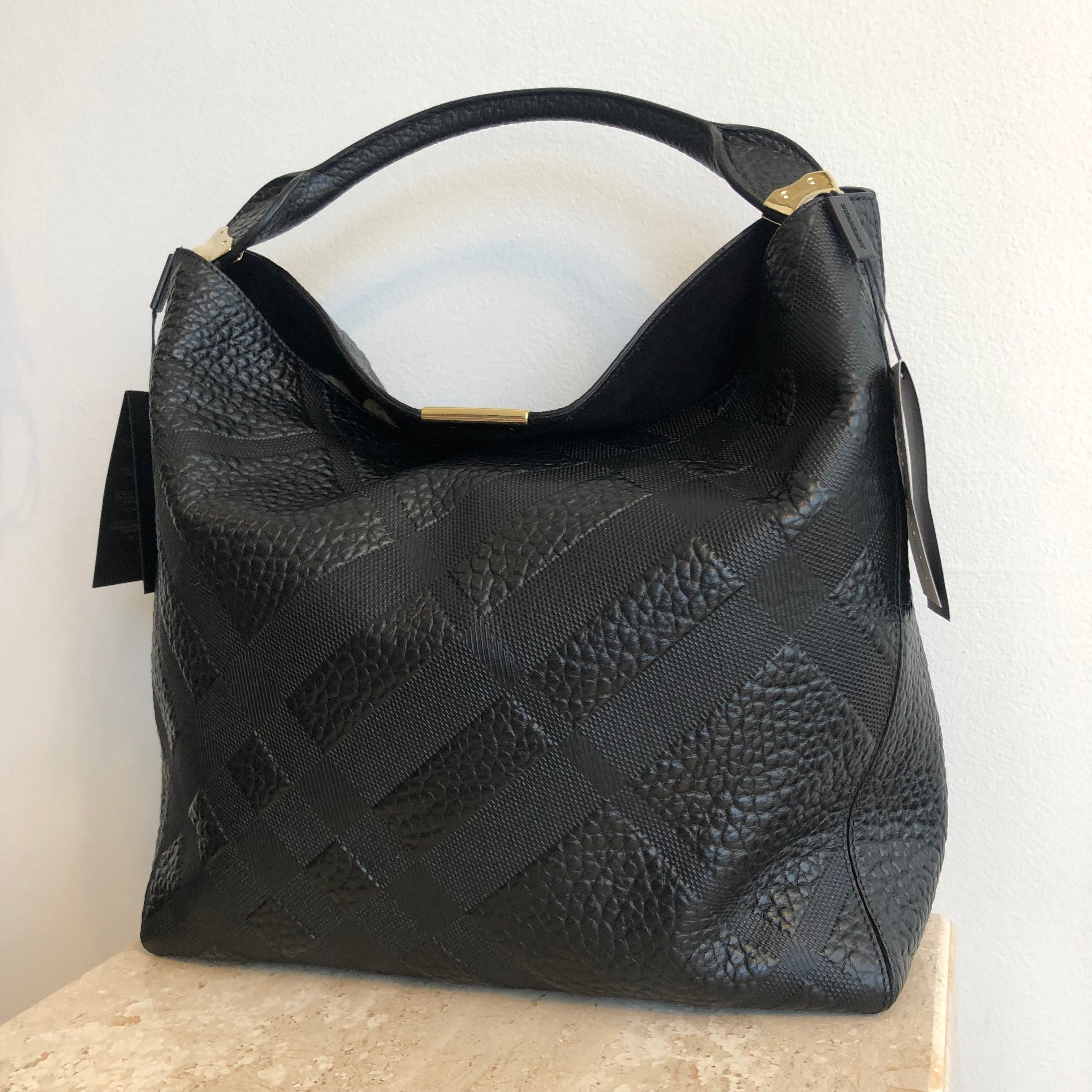 Authentic BURBERRY Medium Lindburn Embossed Check Leather Hobo