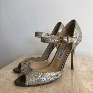 Authentic JIMMY CHOO Silver Lame- Size 6 Mary Jane Peep Toe