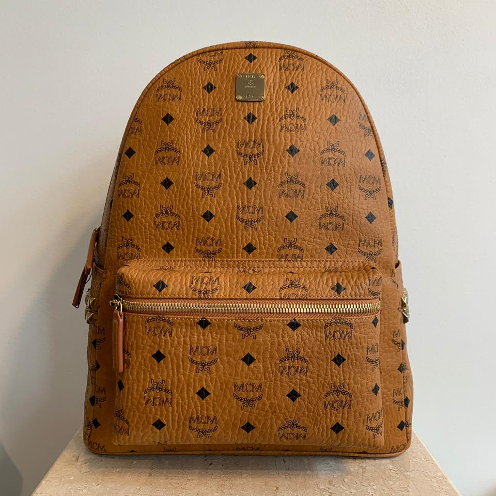 Authentic MCM Large Cognac Stark Visetos Studded Backpack