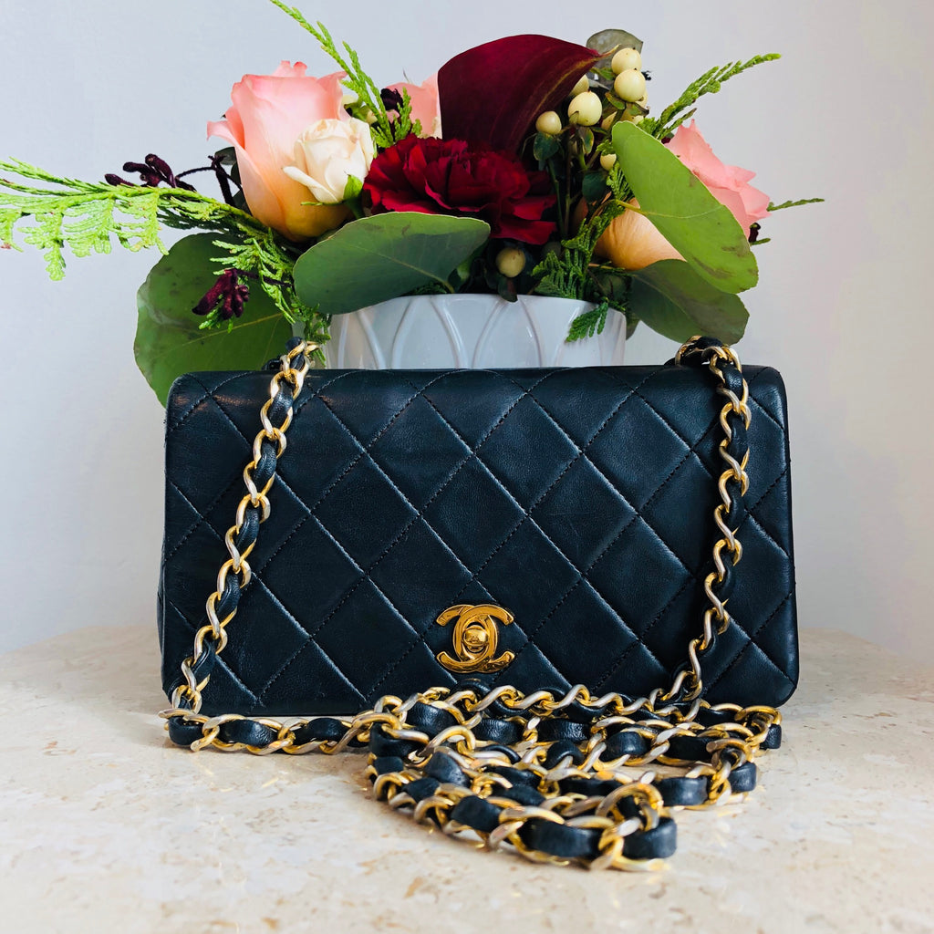 "17108cd76016 SECOND PAYMENT Authentic CHANEL Vintage Black Lambskin 7"" Mini Crossbody"