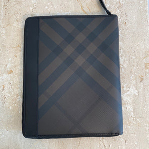 Authentic BURBERRY Smoked Check Coated Canvas Tablet iPad Case