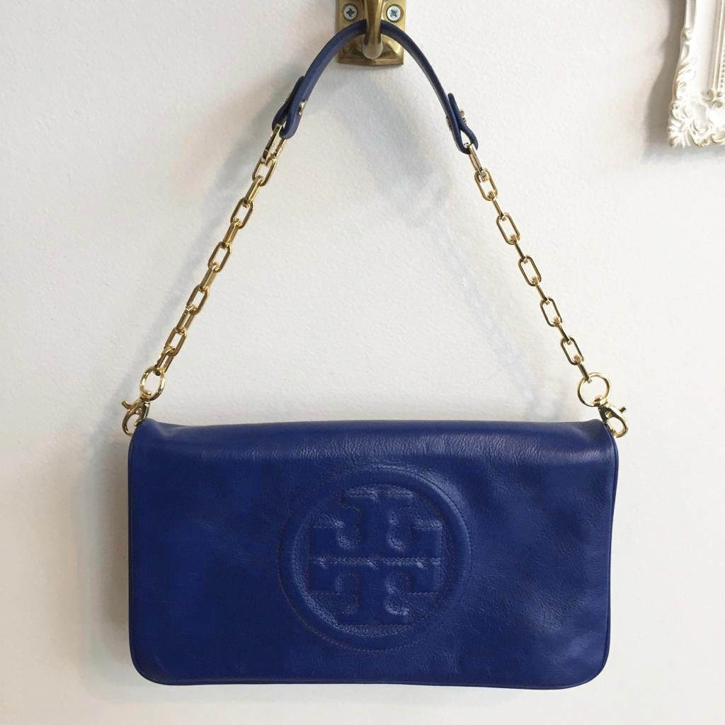 Authentic TORY BURCH Electric Blue Leather Shoulder Bag - C