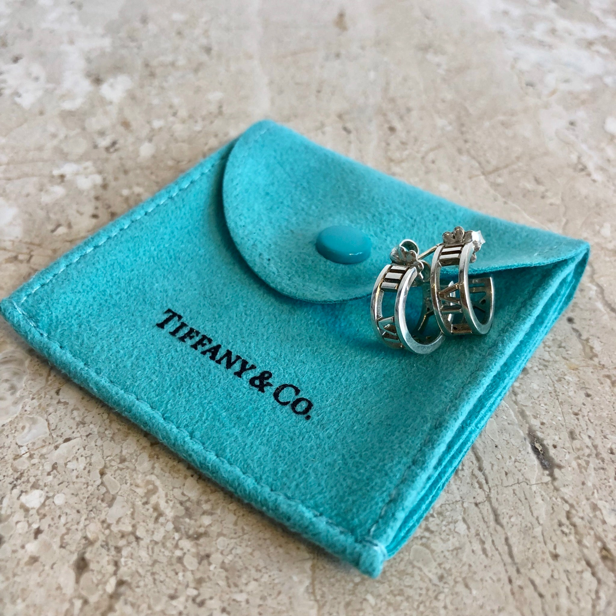 Authentic TIFFANY & CO. Sterling Silver Atlas Mini Loop Earrings