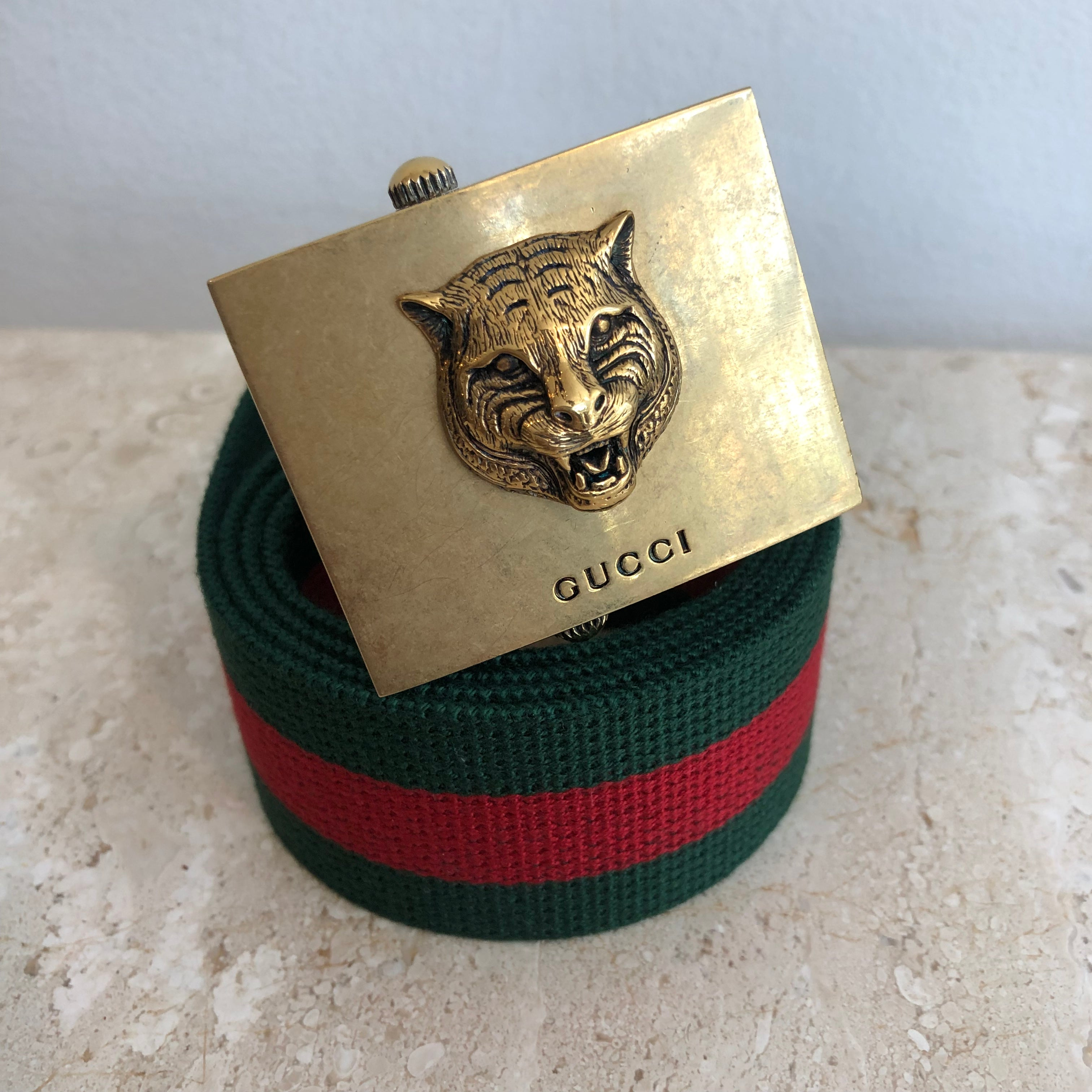 Authentic GUCCI Animalier buckle Web Stripe Belt Size 85/34