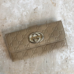 Authentic GUCCI GG Tan Leather Wallet
