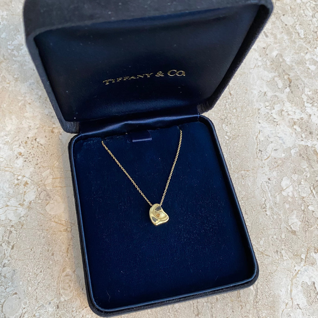 Authentic TIFFANY & CO. 18k Gold Full Heart Pendant Necklace