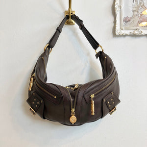 Authentic VERSACE Brown Leather Hobo handbag