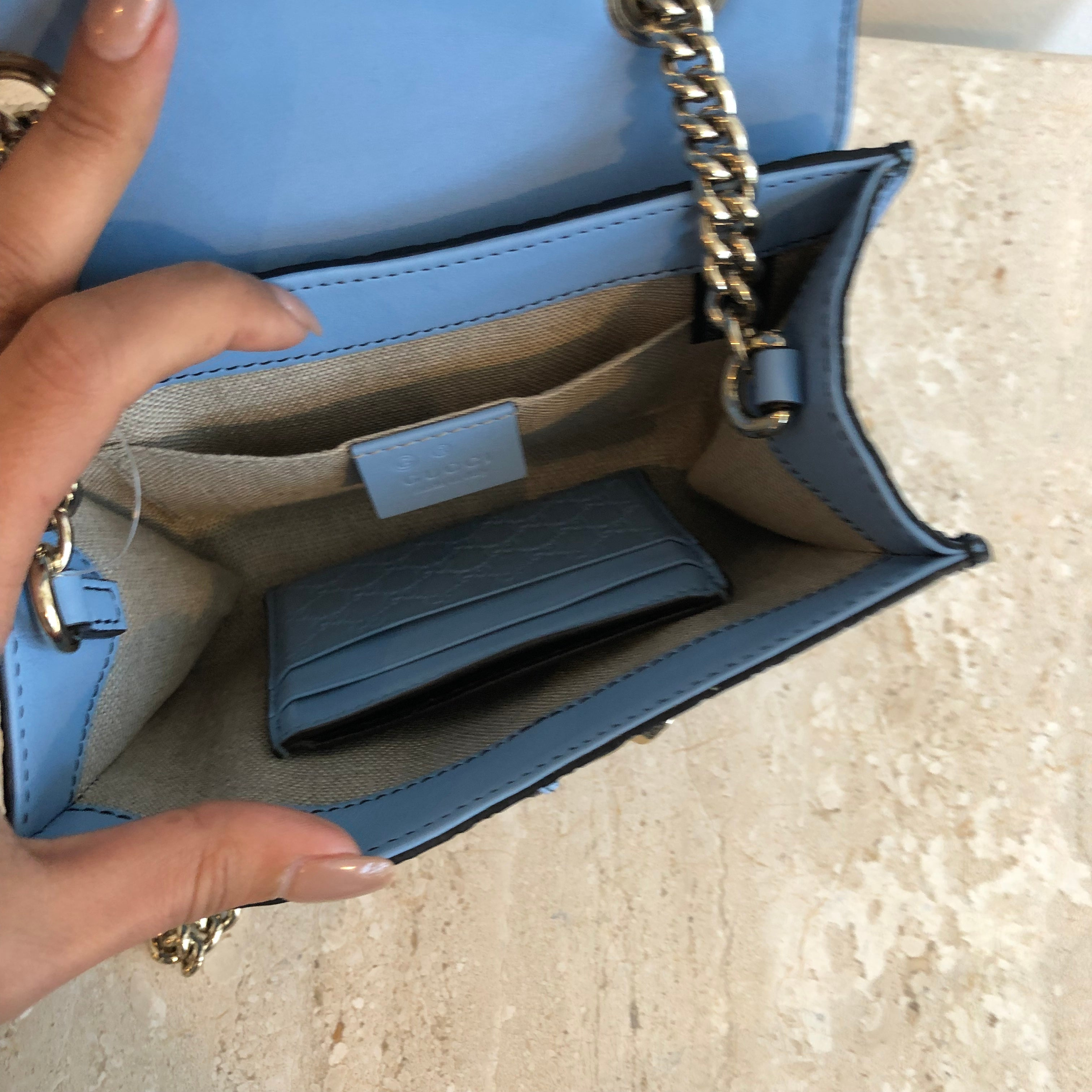 Authentic GUCCI Blue Guccissima Crossbody With Card Holder