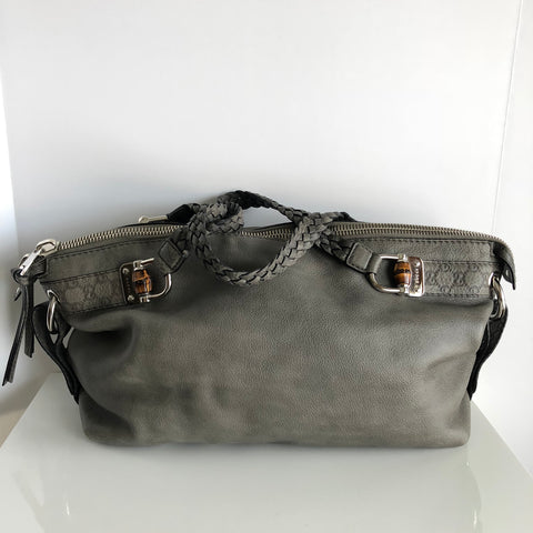 Authentic GUCCI Grey Guccissima Leather Bamboo Bar Medium Shoulder Bag