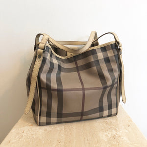 Authentic BURBERRY Taupe Nova Check Tote
