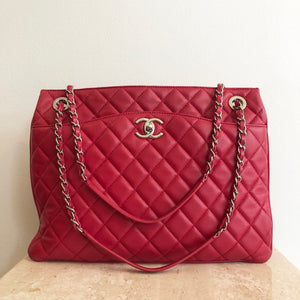 Authentic CHANEL Red 3 Shoulder Tote