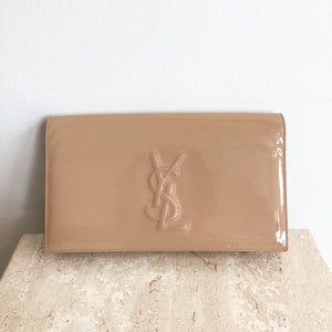 Authentic YVES SAINT LAIURENT Tan Patent Leather Clutch