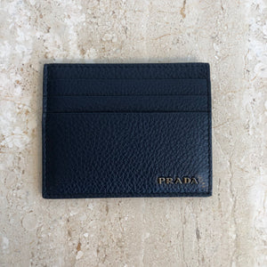 Authentic PRADA Navy Leather Card Holder