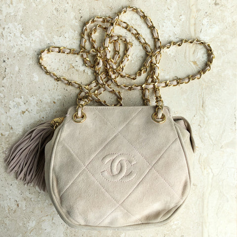 Authentic CHANEL Vintage Blush Suede Shoulder Bag