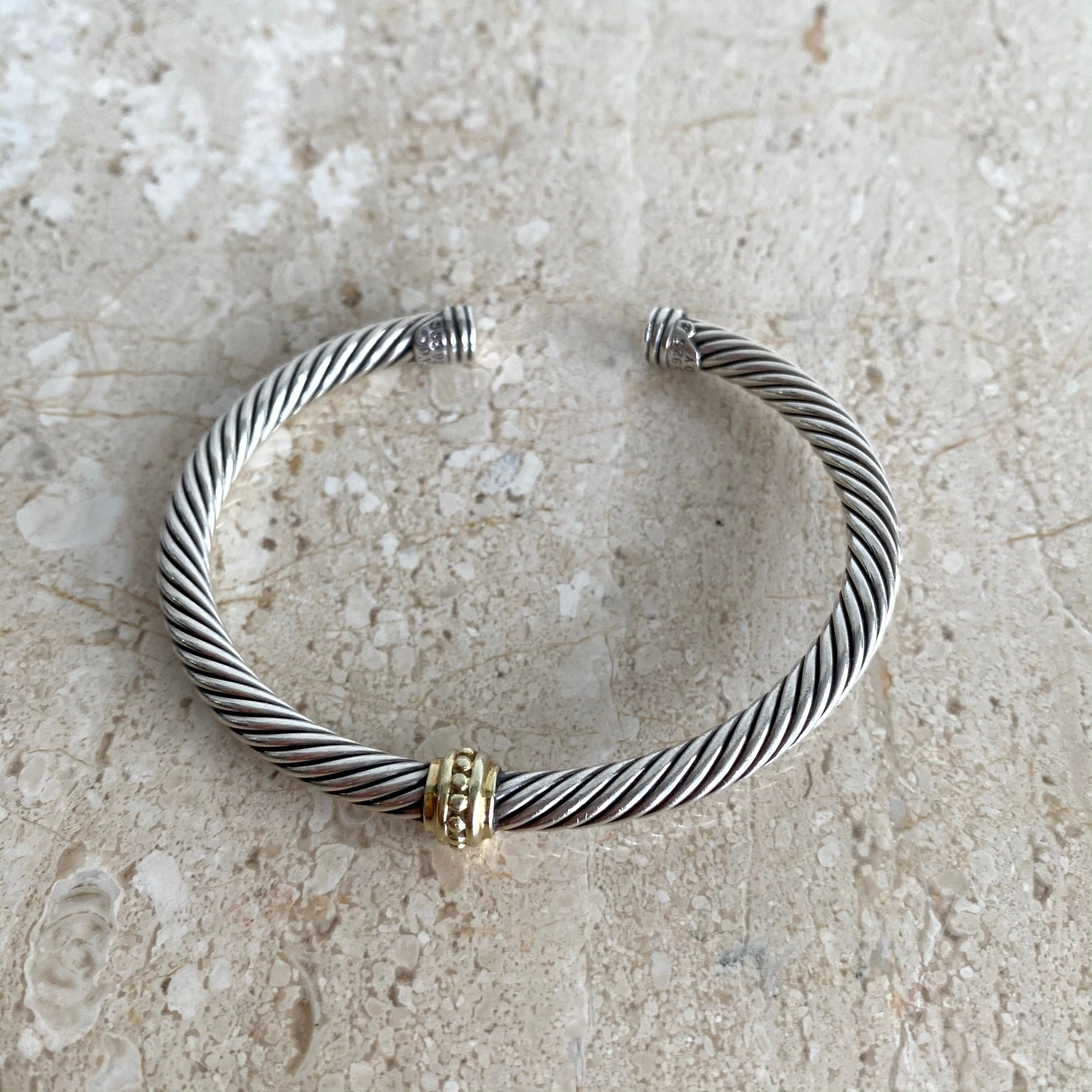 Authentic DAVID YURMAN Sterling Silver and Gold Cable Bracelet